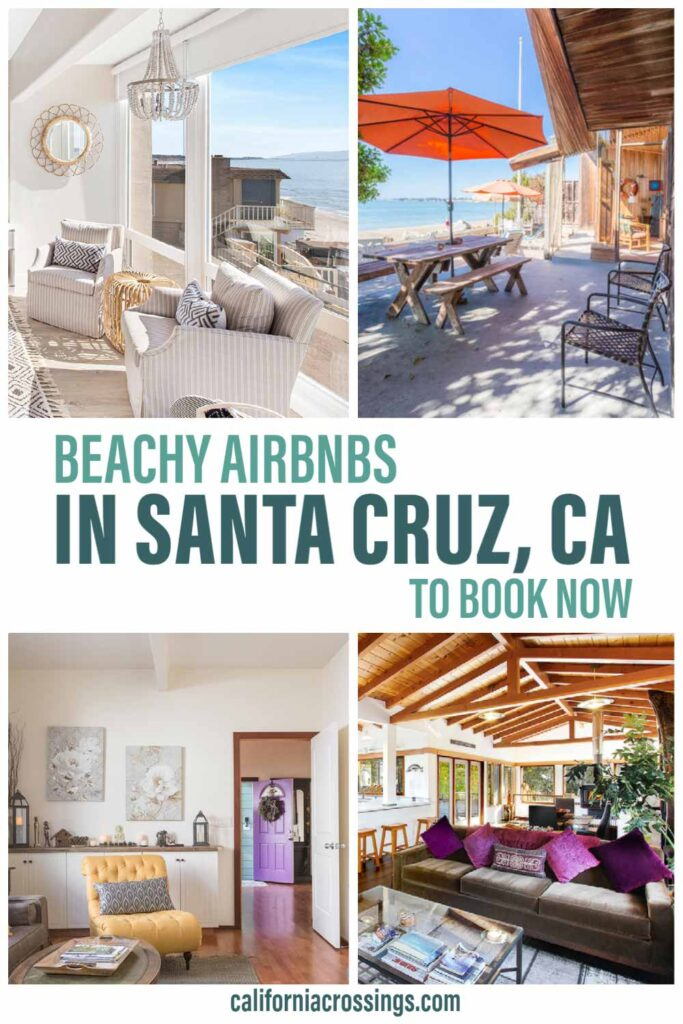 Beachy Airbnbs in Santa Cruz to book now. beach deck, wicker chairs, purple living room