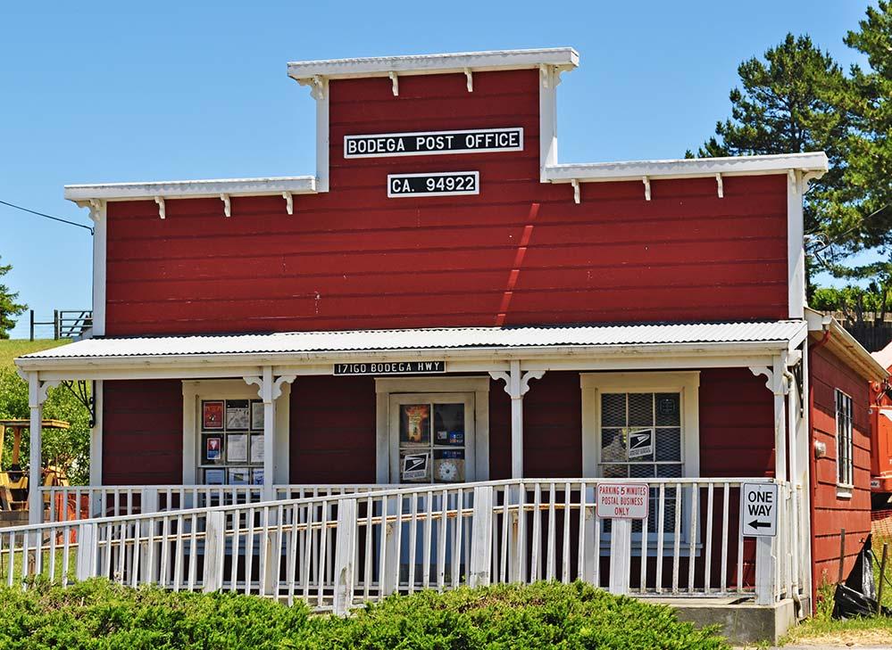 Bodega Bay post office. red historic building