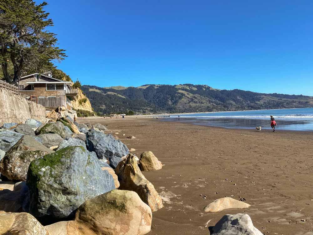 Bolinas beach in California. beach and rocks