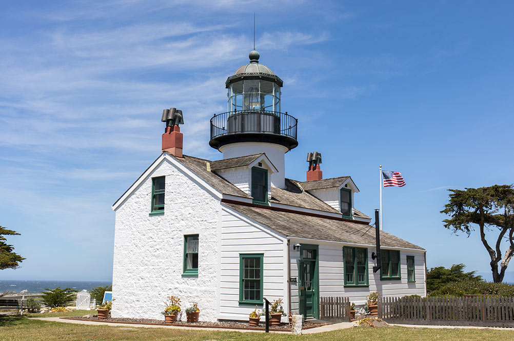 Lighthouse in Pacific Grove California. white historic building