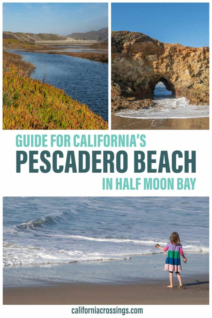 Guide for California's Pescadero Beach in Half Moon Bay. Beach, estuary and girl on sand
