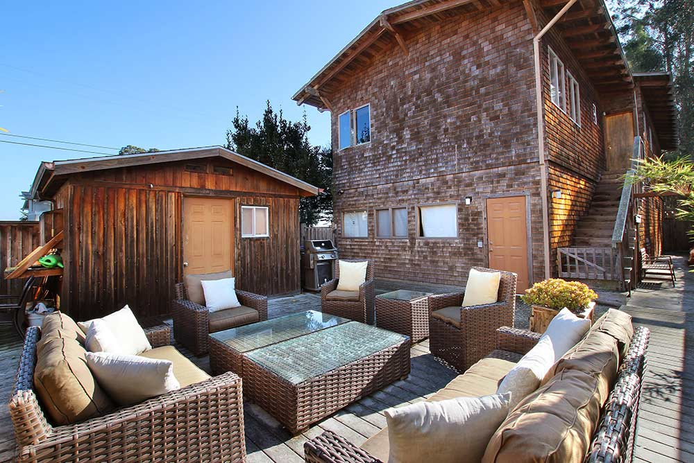 Beach house rental Santa Cruz outdoor deck space with wooden house