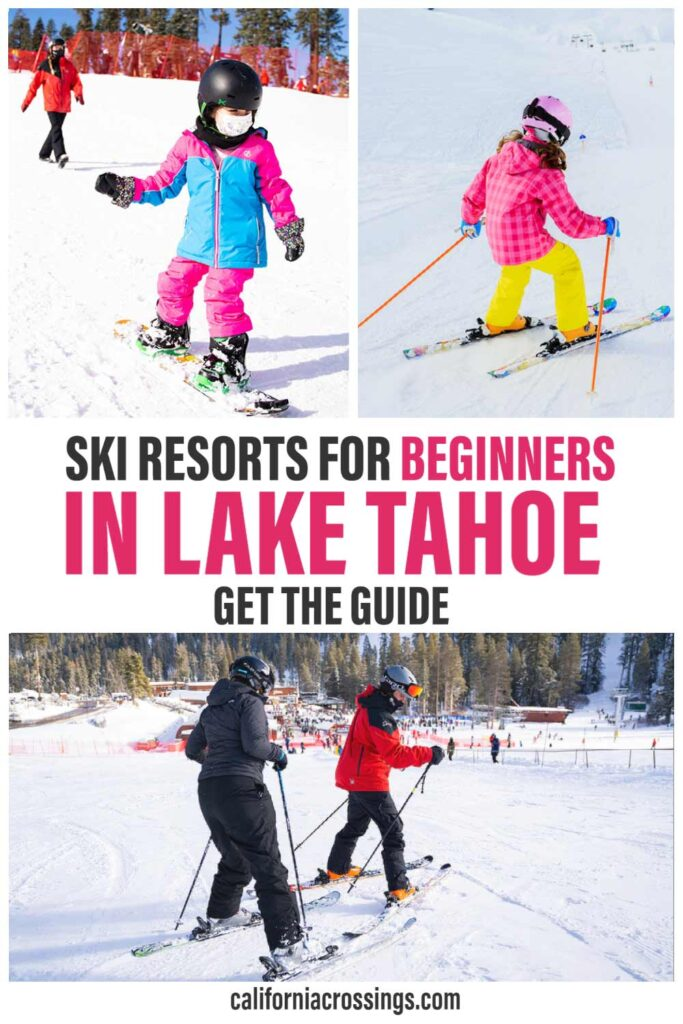 Ski resorts to beginners in Lake Tahoe. kids and adults skiing