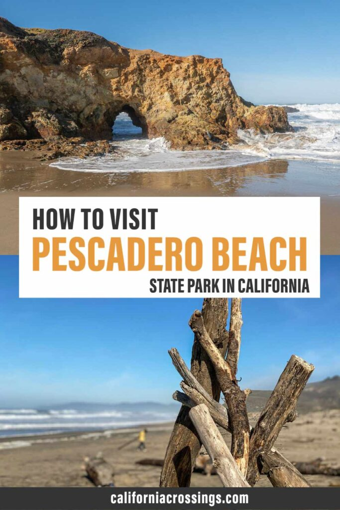 How to visit Pescadero Beach state park in California. beach, arch and driftwood