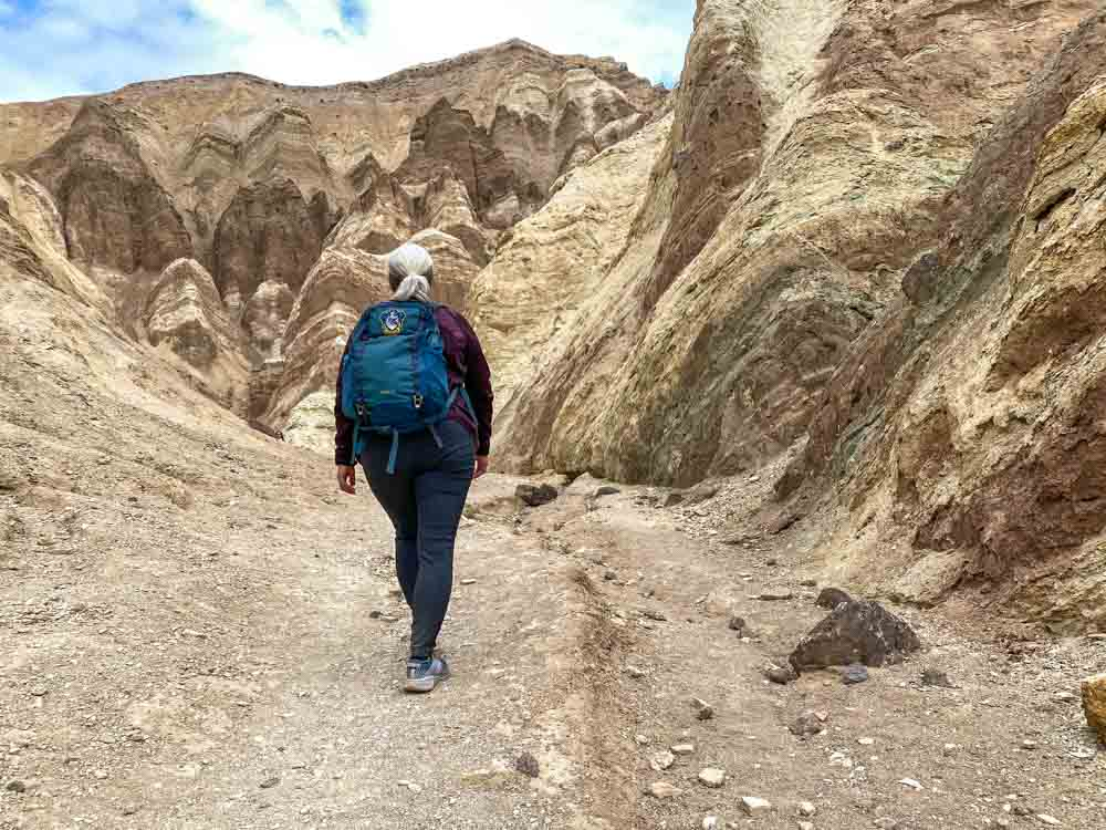 Hiker in Golden Canyon Death Valley