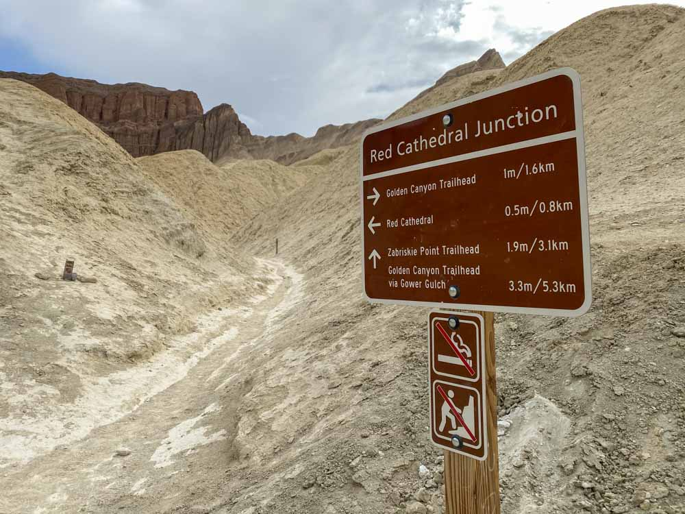 Golden Canyon Death Valley trail sign