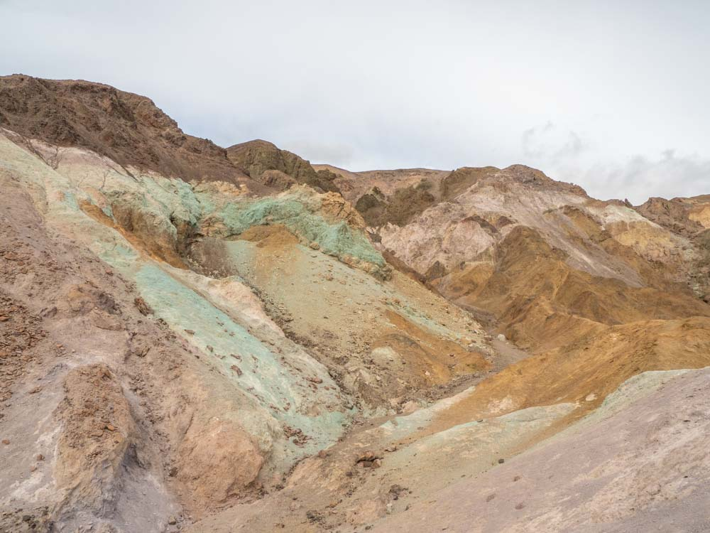 Death Valley visit Artist's Palette Drive. Colorful mineral deposits in the desert