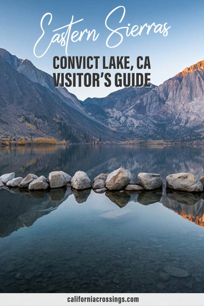 Eastern Sierras Convict Lake Visitor's guide. lake rocks and sunrise