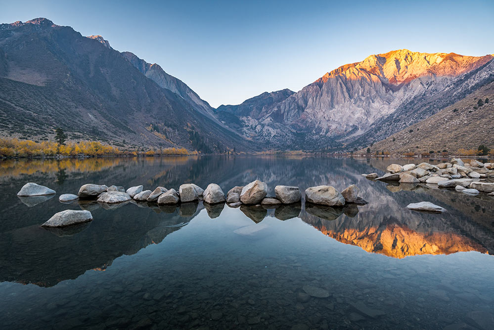 Convict Lake at sunrise eastern sierras mountains and lake