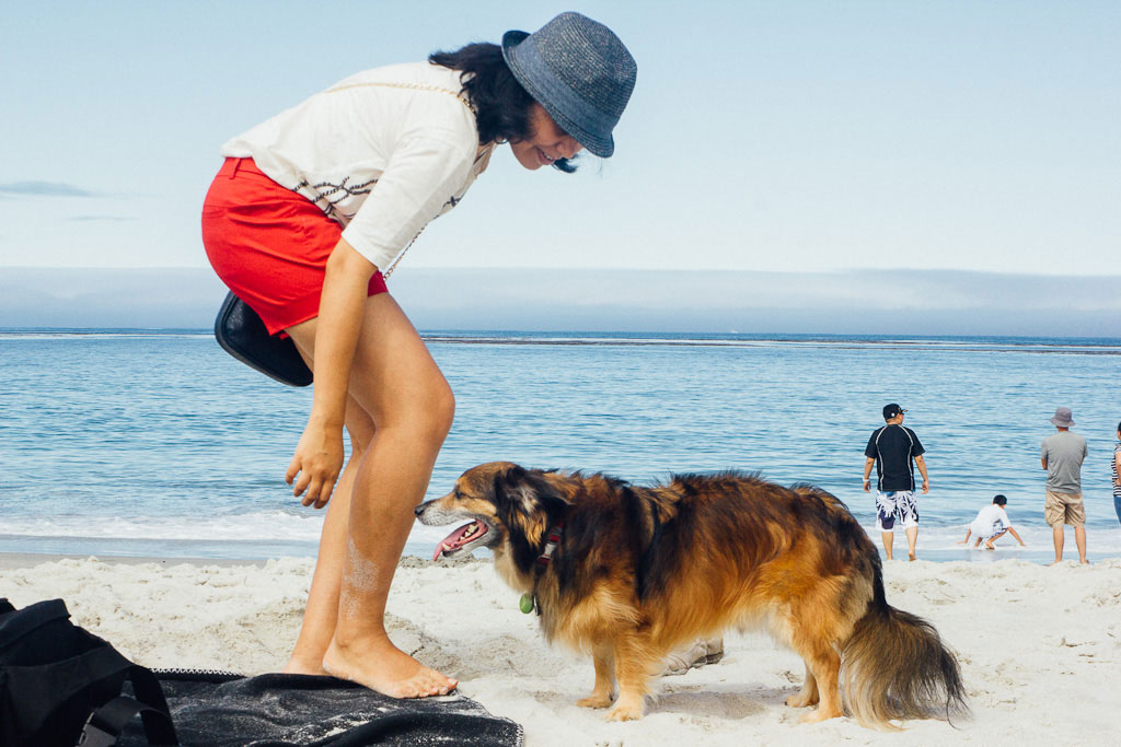 Carmel beach in California. woman in red shorts and dog