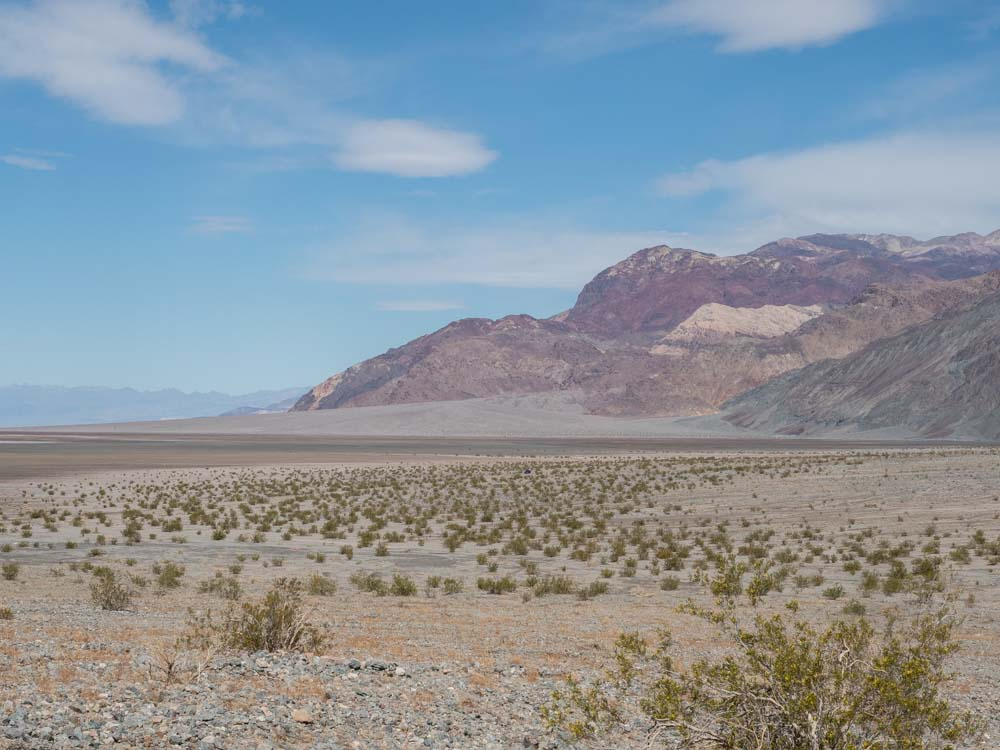 Death Valley view from Sidewinder Canyon trailhead. mountains and desert landscape