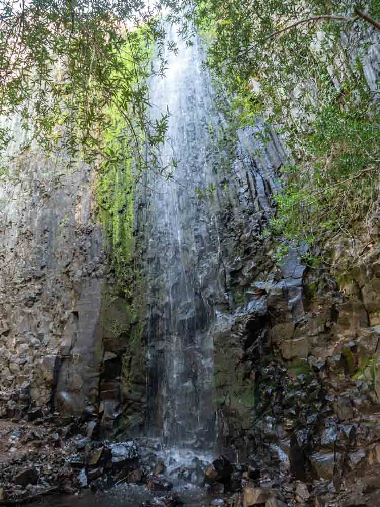 Ravine Falls in Oroville's Table Mountain. Waterfall on volcanic rocks