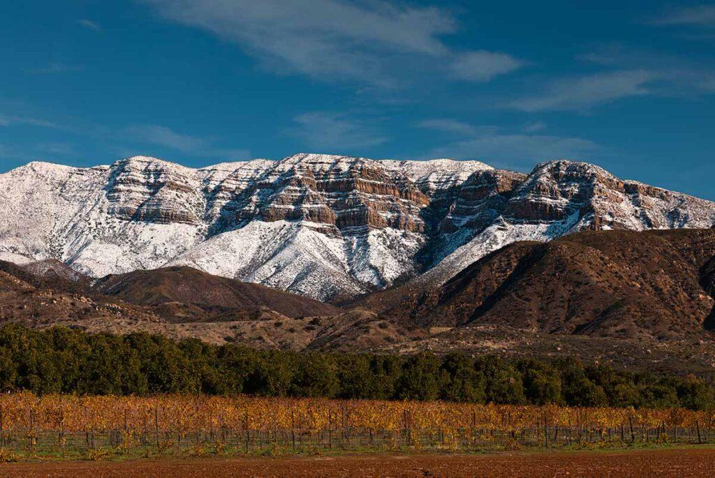 Mountains near Ojai with snow