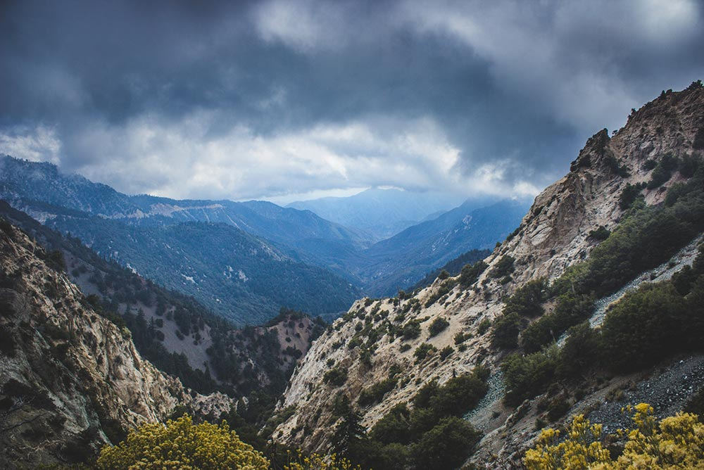 Angeles National Forest view. mountains and dark clouds