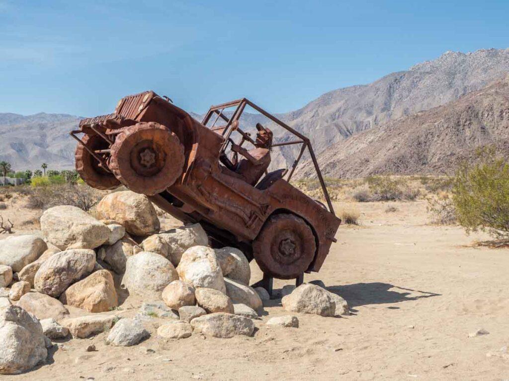 Metal jeep sculpture in Anza Borrego