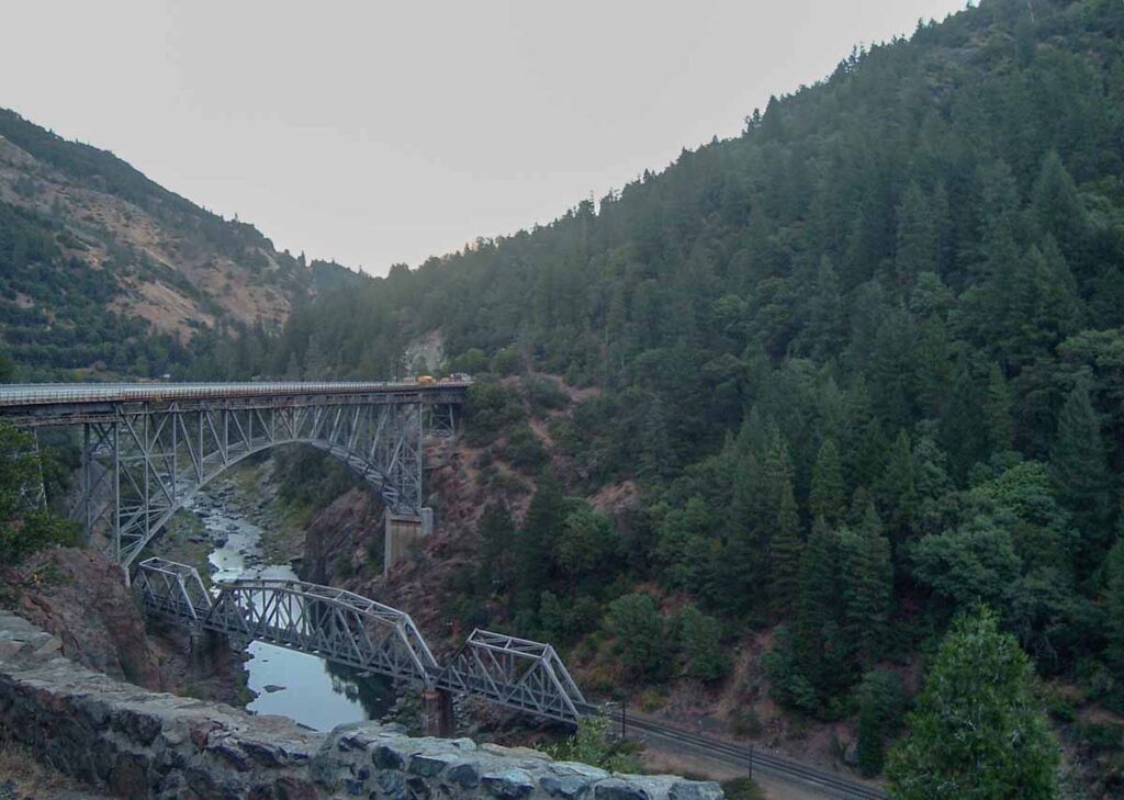 Feather River scenic California highway. forest and railroad trussles