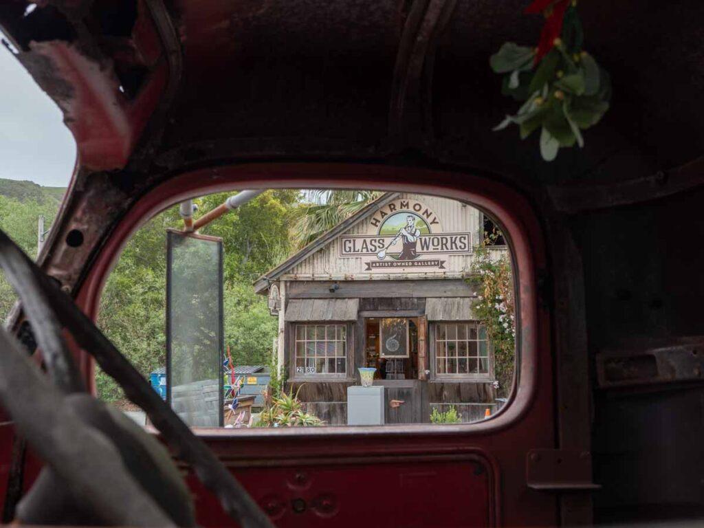View of Harmony Glassworks through a truck window