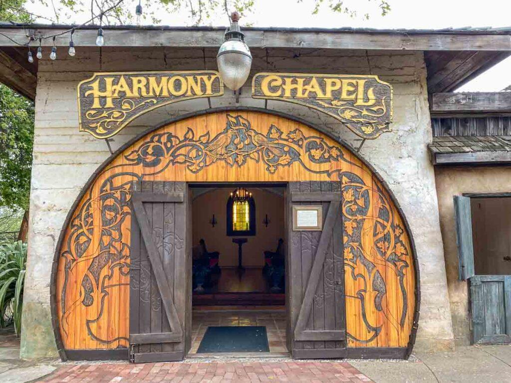 Harmony California wedding chapel. ornate and rounded wood doors