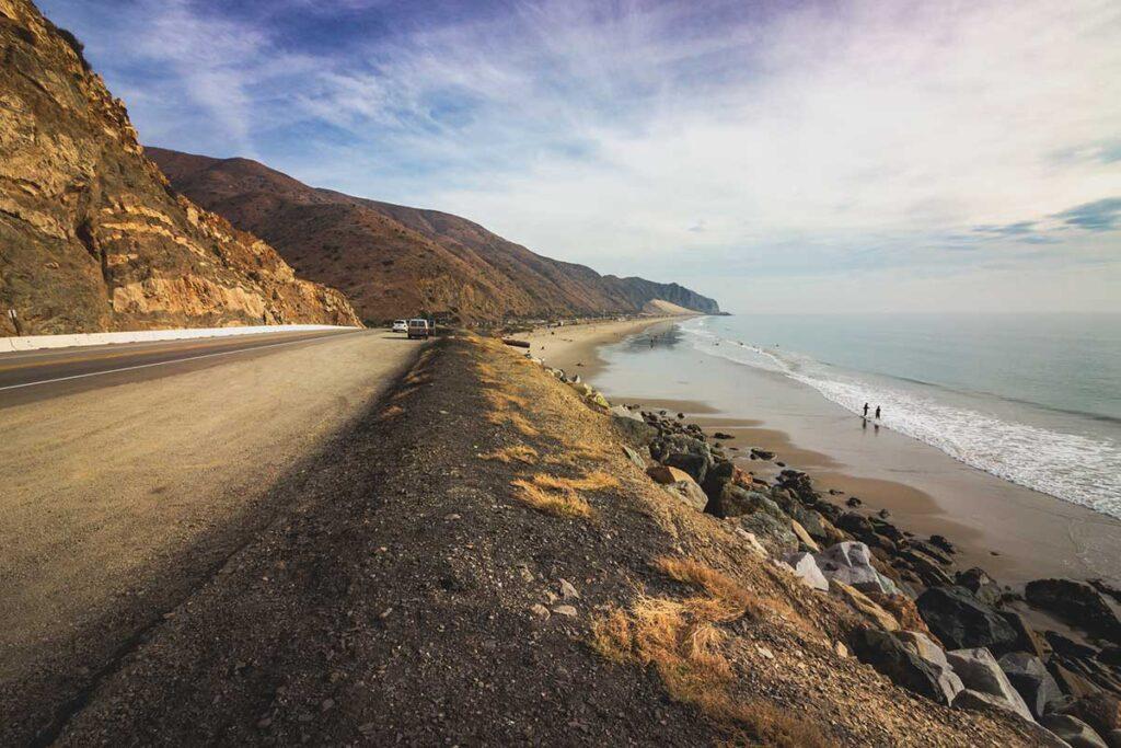 Pacific Coast Highway near Mogu State Park. road and ocean break