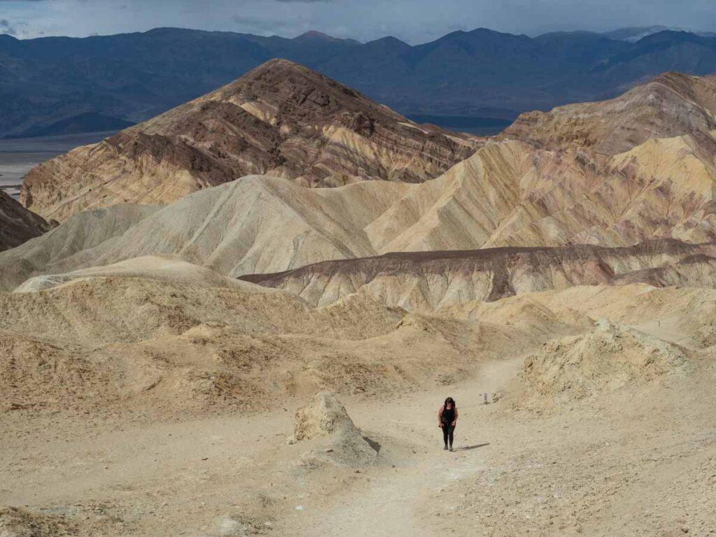 San Franciso to Death Valley: Gower Gulch Hiker. desert landscape