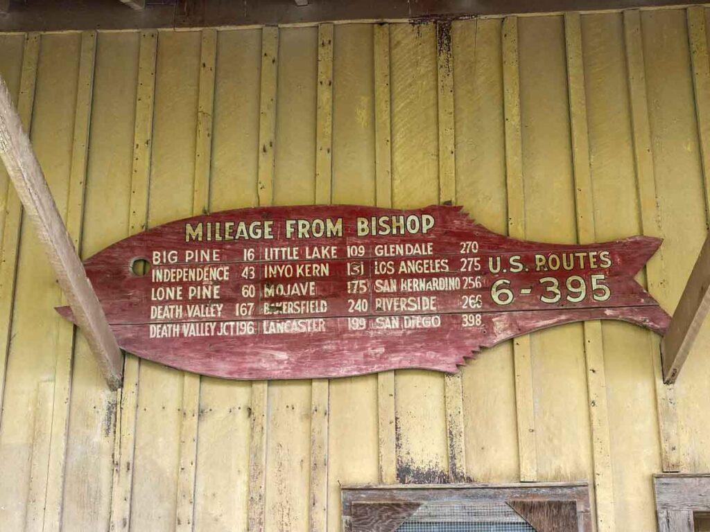 Bishop California railroad mileage sign