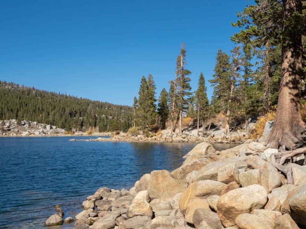 Rock Creek Lake Eastern Sierras. Alpine lake, rocks and pine trees